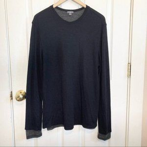 Vince Lightweight Double Layer Wool Black Pullover